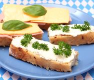 Bread with cheese and sausage Stock Photos