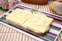 Bread with cheese. Some fresh bread with cheese Stock Photography