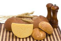 Bread, cheese, spices Royalty Free Stock Images