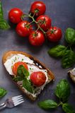 Bread cheese spread baked tomato Royalty Free Stock Image