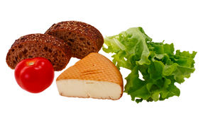 Bread, cheese and vegetables Stock Photo