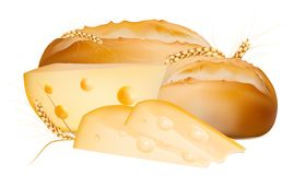 Bread with cheese and wheat. Royalty Free Stock Image