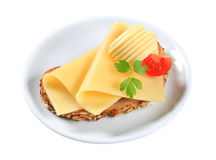 Bread and cheese. Whole grain bread with sliced cheese Royalty Free Stock Photo