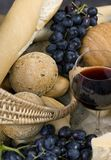 Bread Cheese and Wine 2. Chianti wine with assorted Cheese and breads royalty free stock images