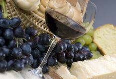 Bread Cheese and Wine 3 Royalty Free Stock Photos
