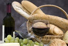 Bread Cheese and Wine 4. Assorted Breads and cheeses and chianti wine stock image