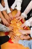 Bread and children's hands. Stock Photo