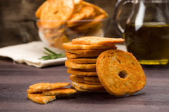 Bread chips flavored with paprika, Stock Photo