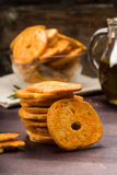 Bread chips flavored with paprika, Royalty Free Stock Images