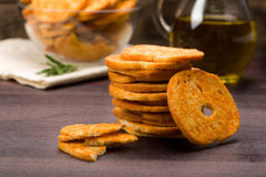 Bread chips flavored with paprika, Royalty Free Stock Image