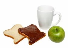 Bread with chocolate,apple and mug Stock Images
