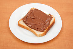 Bread with chocolate cream Stock Image