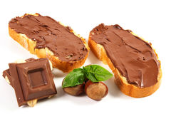 Bread with chocolate cream Royalty Free Stock Images