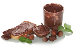 Bread and chocolate cream Stock Images