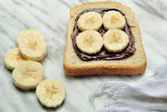 Bread with chocolate cream and sliced banana. Bread with chocolate cream and slices of banana Royalty Free Stock Images