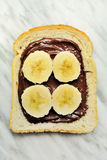 Bread with chocolate cream. Snd banana slices Royalty Free Stock Photography