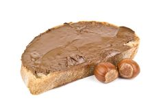 Bread with chocolate cream Royalty Free Stock Photography