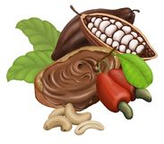 Bread with chocolate paste, cashew and cocoa. Isolated on the white background. Bread with chocolate paste, cashew and cocoa. Raster illustration, isolated on Stock Images