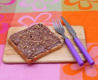 Bread with chocolate Stock Image