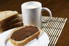 Bread with chocolate spread. Milk and hazelnuts Stock Photo