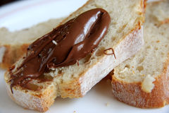 Bread with chocolate spread royalty free stock image