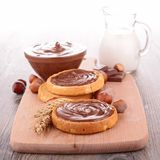 Bread and chocolate spread Royalty Free Stock Photos