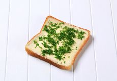 Bread with chopped parsley Stock Photos