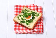 Bread with chopped parsley Stock Photo