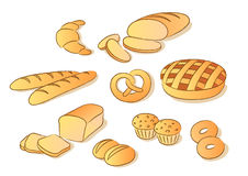 Bread clip art. Bakery clip art set. Sketch style Royalty Free Stock Photography