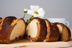 Bread and coffee royalty free stock photos