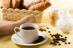Bread and coffee. Breakfast with bread and coffee stock photos