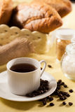 Bread and coffee. Breakfast with bread and coffee royalty free stock photos