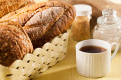 Bread and coffee. Breakfast with bread and coffee stock images
