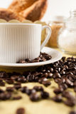 Bread and coffee. Breakfast with bread and coffee royalty free stock photo
