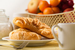 Bread and coffee. Breakfast with bread and coffee stock photography