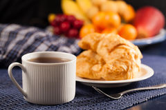 Bread and coffee. Breakfast with bread and coffee stock photo