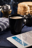 Bread and coffee. Breakfast with bread and coffee royalty free stock image