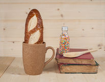 Bread  in  coffee cup Royalty Free Stock Photos
