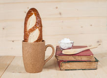 Bread  in  coffee cup Royalty Free Stock Photo