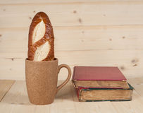 Bread  in  coffee cup Stock Photo