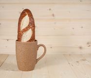 Bread  in  coffee cup Royalty Free Stock Photography