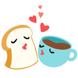 Bread and coffee are lover breakfast  Stock Images
