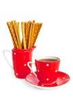 bread coffee red sticks utensil 库存图片