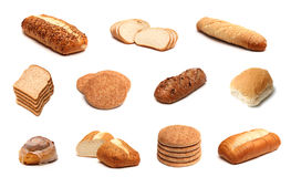 Bread Collage. A collage of eleven different types of bread on a white background Stock Photo