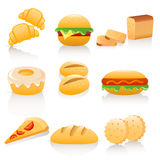 Bread collection. Set of 9 colorful icons royalty free illustration