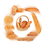 Bread collection. Large variety of bread isolate on white background Stock Photo