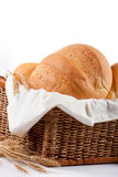Bread composition. Basket with breads isolated on white royalty free stock images