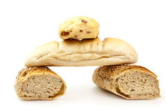 Bread composition. Bread pyramid on white background Stock Photo
