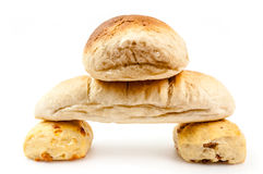 Bread composition. Bread pyramid on white background Stock Photos