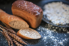 Bread composition with wheats Royalty Free Stock Photos